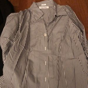 Charcoal and white stripped button down